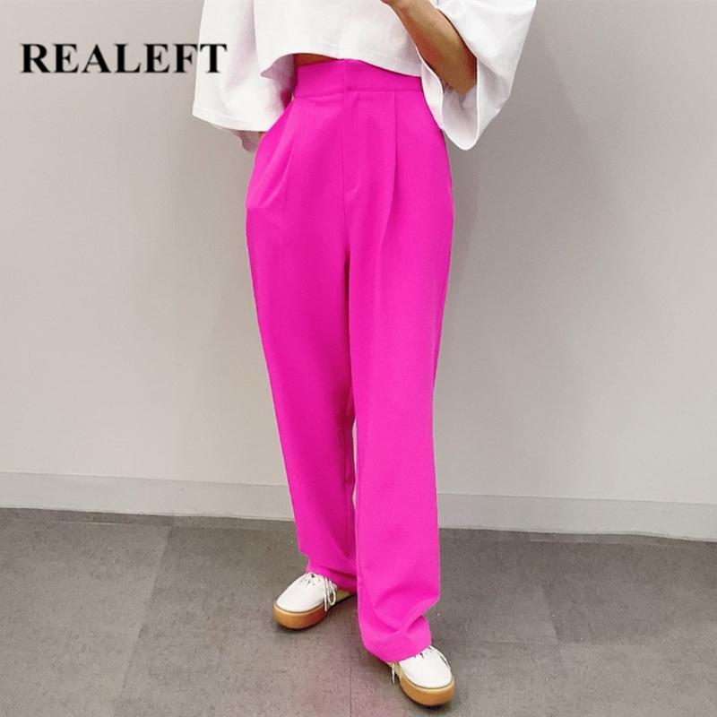 Calças REALEFT 2020 Mulheres de Verão de Nova Primavera calças perna larga cintura elástica elegante Trabalho Calças Feminino solto pantalon femme