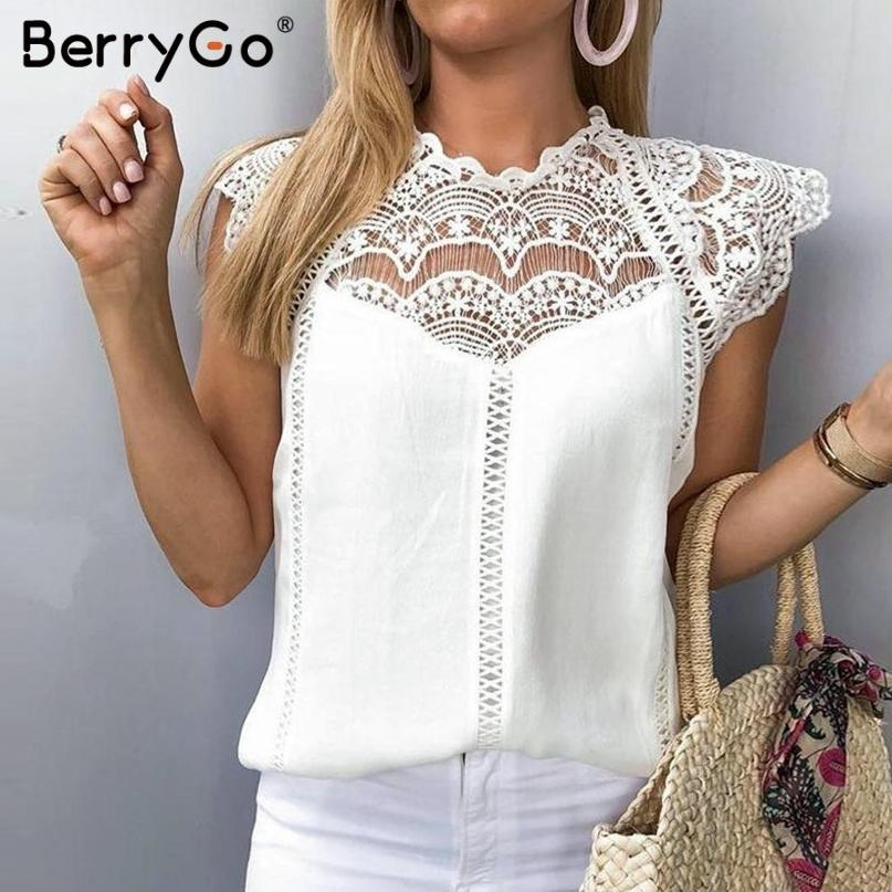 Berrygo Elegant Lace Embroidery Tank Chiffon Women Camis Tops Sexy Sleeveless Female Summer Tank Tops Streetwear Ladies Tops Y19071601