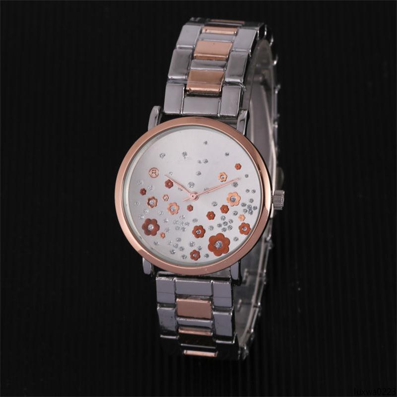 Fiore diamante della vigilanza di marca delle donne Luxwa0223 signore strass Designer Watches donne della vigilanza di orologio Reloj A Luxury Bracciale blu orologio da polso