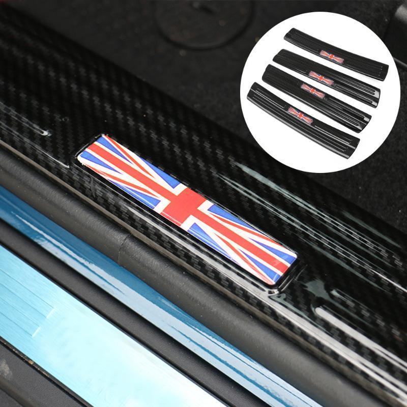 4PCS / مجموعة السيارات الفولاذ المقاوم للصدأ نمط من ألياف الكربون عتبة الباب حامي دواسة أهلا لوحة لاصقة للMINI كوبر Countyman F60