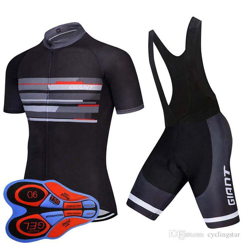 GIANT summer mens short sleeve cycling jersey bike Clothes bib Set MTB uniform Pro cycling clothing bicycle Maillot Culotte suit Y082107