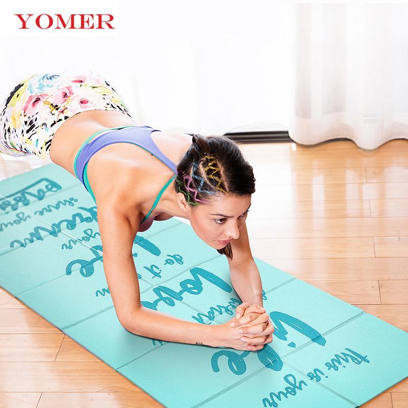 Sport Divertissement YOMER 5 mm PVC antidérapante Yoga Pliable Tapis pour Fitness Slim Yoga Gym Exercise Tapis Tapis extérieur Fitness Mat facile Carry