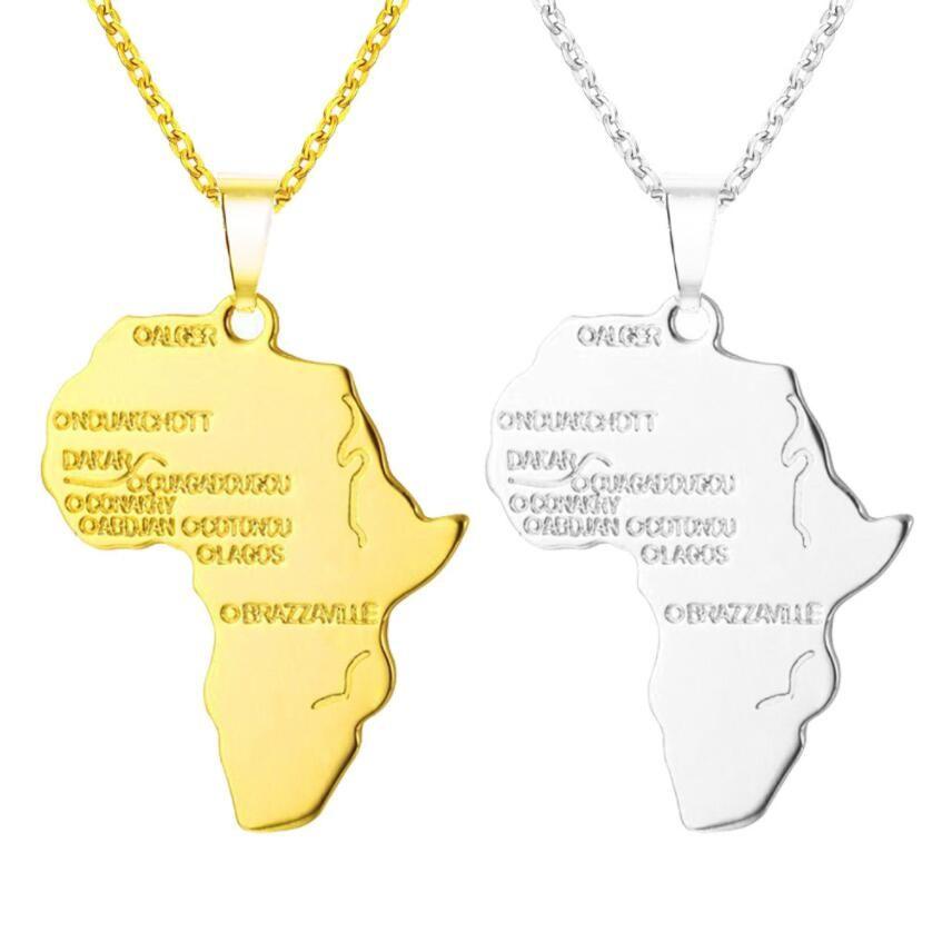 U7 Африка ожерелье золотой цвет кулон цепь Африканская карта хип-хоп подарок для мужчин / женщин эфиопские ювелирные изделия модные 4 цвета Бесплатная доставка