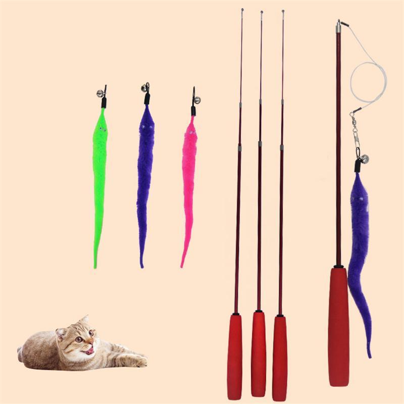 PAPASGIX NUOVO divertente canna da pesca telescopica cat sostituibile buffo gatto gatto giocattolo educativo interattivo prodotti per animali