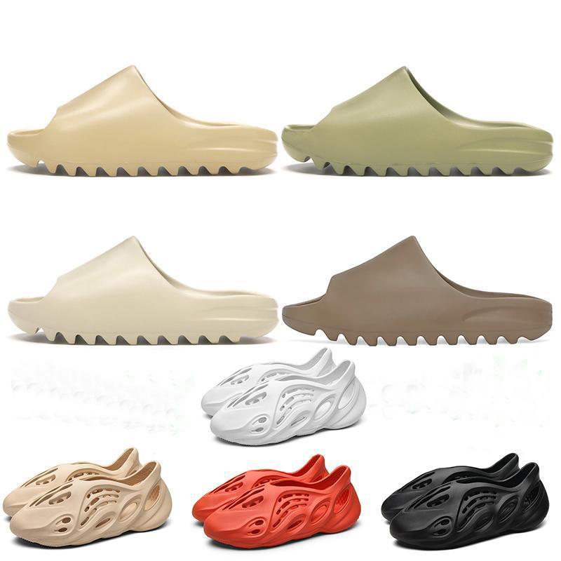 2020 Mode Harz Knochen Erde braune Wüste Sand Eva Foam Runner Kanye West Slides Herren Womens Kind Kinder Slipper Hausschuhe Sandalen