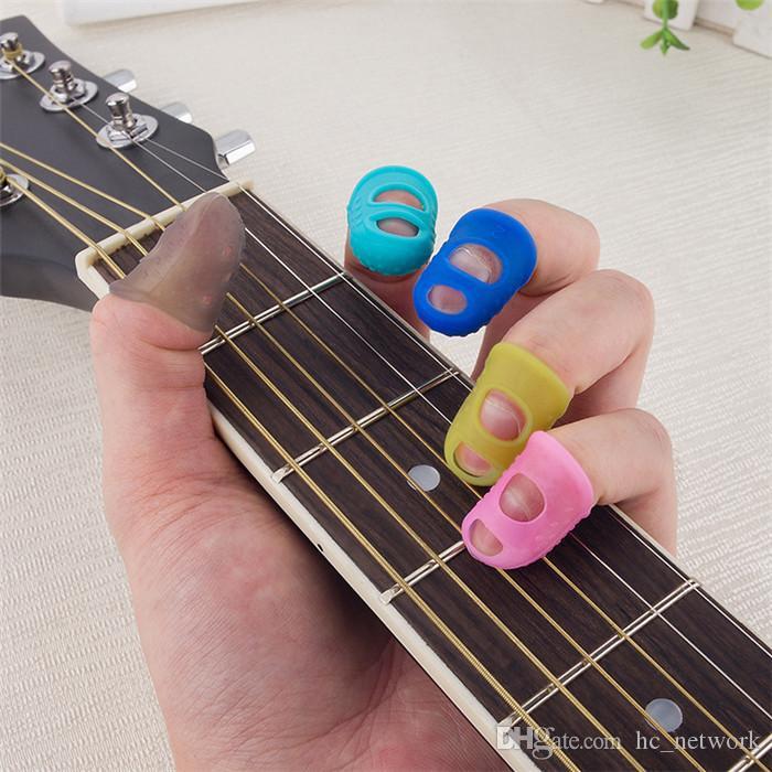 سيليكون غيتار فنجر كم إصبع الإبهام يختار حماة الاصبع الغيتار مفيدة للغيتار الصوتية المبتدئين سلاسل أخرى أداة دي إتش إل