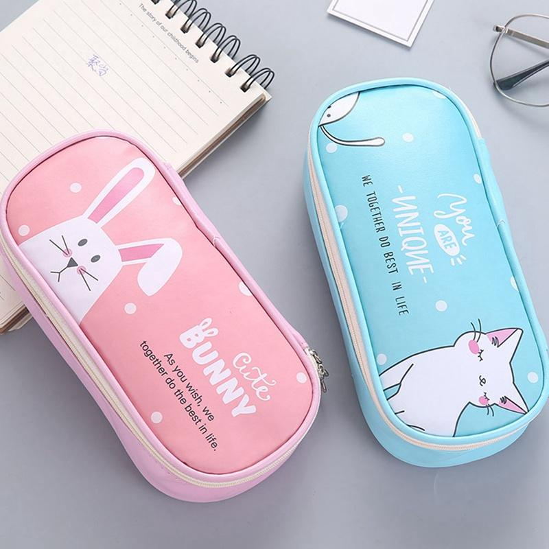 CUTE BUNNY PENCIL CASE TIN PINK BLUE GREAT FOR SCHOOL OR HOME