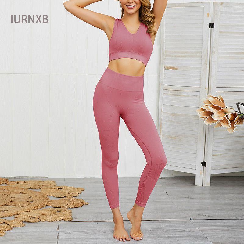Senza soluzione di continuità Gym Set sportivo 2 pezzi Esercizio Leggings Sport Bras Donne Fitness abbigliamento fissa l'usura di yoga di sport