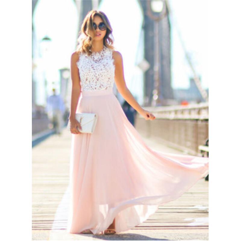 Frau Kleidung Frauen Kleid 2019 Heiße Verkaufs-Frauen Vestidos Party Kleider Nude-Strand-Sommer-Maxi lange aushöhlen Patchwork Sundress Plus Size