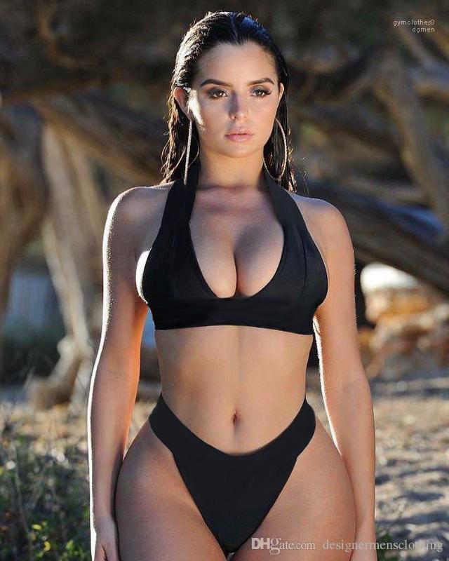 Bikini donne 2pcs insiemi del bikini Tankinis Halter lettere F Bra Underwears Slip Costumi da bagno