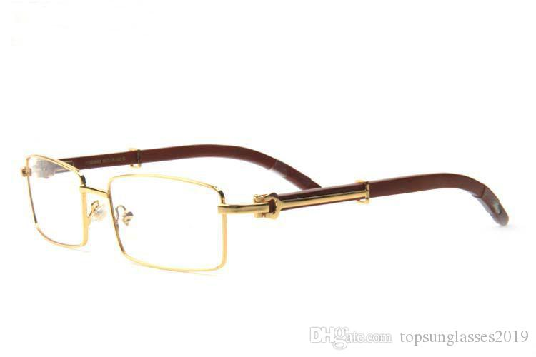 new arrival wood sunglasses for men 2019 fashion buffalo horn glasses gold metal frame clear lenses buffalo sunglasses come with box