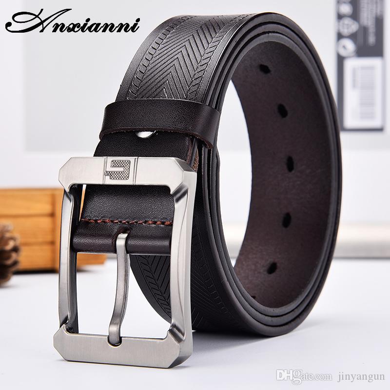 Man Stiftwölbungsgurt echtes Ledergürtel für Männer Antike Luxus 135cm-150cm groß Größe schwarz braun Fett extra langen Riemen