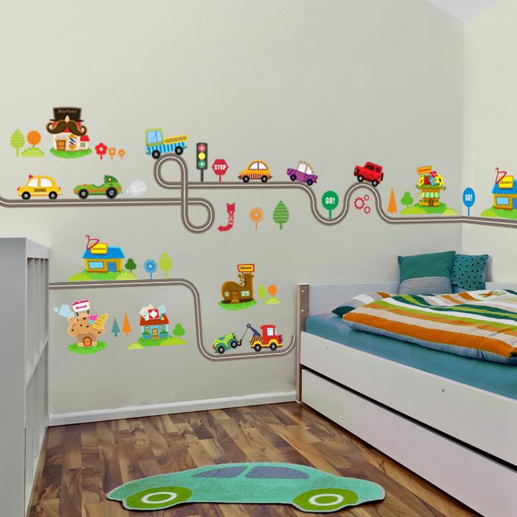 Мультфильм Автомобили Шоссе Трек стены наклейки для детей номеров Стикер Детская игровая комната Спальня Декор стены искусства деколь