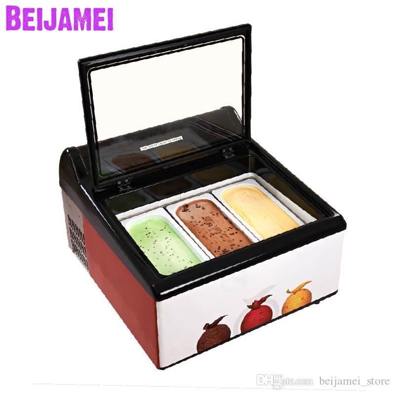 Beijamei Новое Прибытие 3 кастрюли настольный мороженое дисплей мороженое электрическая столешница мороженое витрина шкафы мороженое