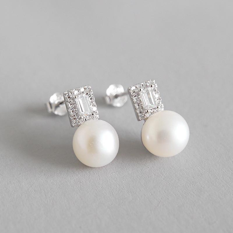100% Real 925 Sterling Silver Drop Earrings for Women Elegant Zircon Round Freshwater Pearl Earring Brinco Jewelry YME186