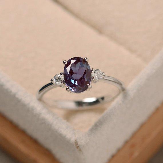 la moda di lusso 925 Sterling Silver viola anello zircone dimensioni di nozze anello di fidanzamento di serie 6-10