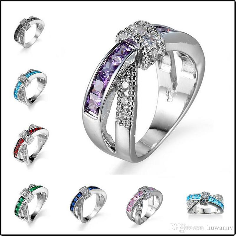Silver Rings Jewelry for Girl Hot Sale Women Crystal Finger Ring Party Fashion Jewelry Wholesale Free Shipping 0456WH