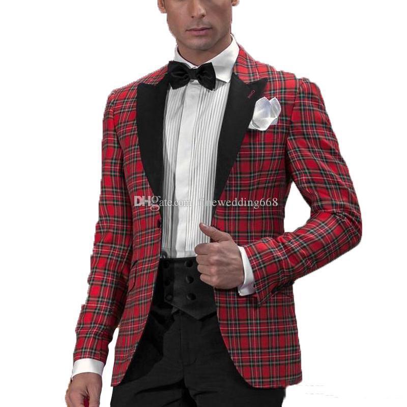 Bonito One Button Groomsmen pico lapela do noivo smoking Homens ternos de casamento / Prom / Jantar melhor homem Blazer (jaqueta + calça + gravata) AA260