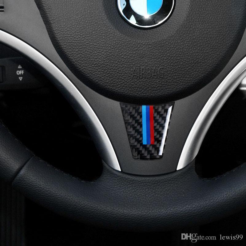Yeni Tasarım Direksiyon Karbon Fiber Araba Çıkartmaları BMW E90 E92 3 Series 2006 2007 2008 2009 2010 2011 2012 Araba Styling