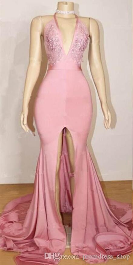 2020 Pink Halter Deep V-Neck Mermaid Prom Dresses Sexy Backless Sleeveless A-Line Front Split Pattern Popular Party Evening Dresses