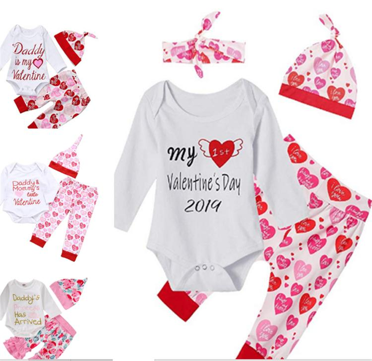 Newborn Infant Baby Girls Valentine Clothing Sets Romper Long Sleeve Trousers Headband Outfits Daddys Princess 3PCS