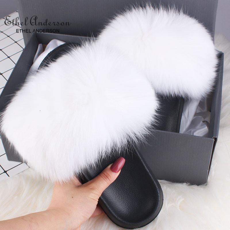 Ethel Anderson Gerçek Kürk Terlik Slaytlar Vogue Fox Rakun Kürk Ayaklı Casual Yaz Sandalet Ayakkabı Floplar