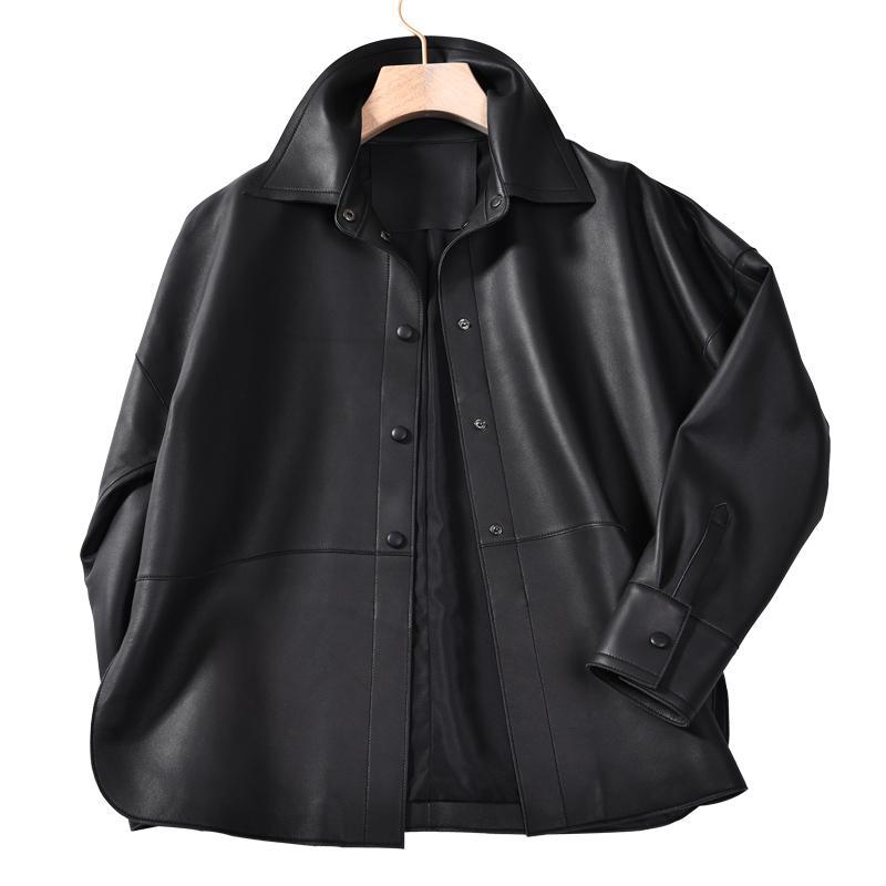 Frauen Leder Faux Echtes Hemd Frauen Lose Stil Jacken Mode High Street Weibliche echte Schaffelljacke Mantel