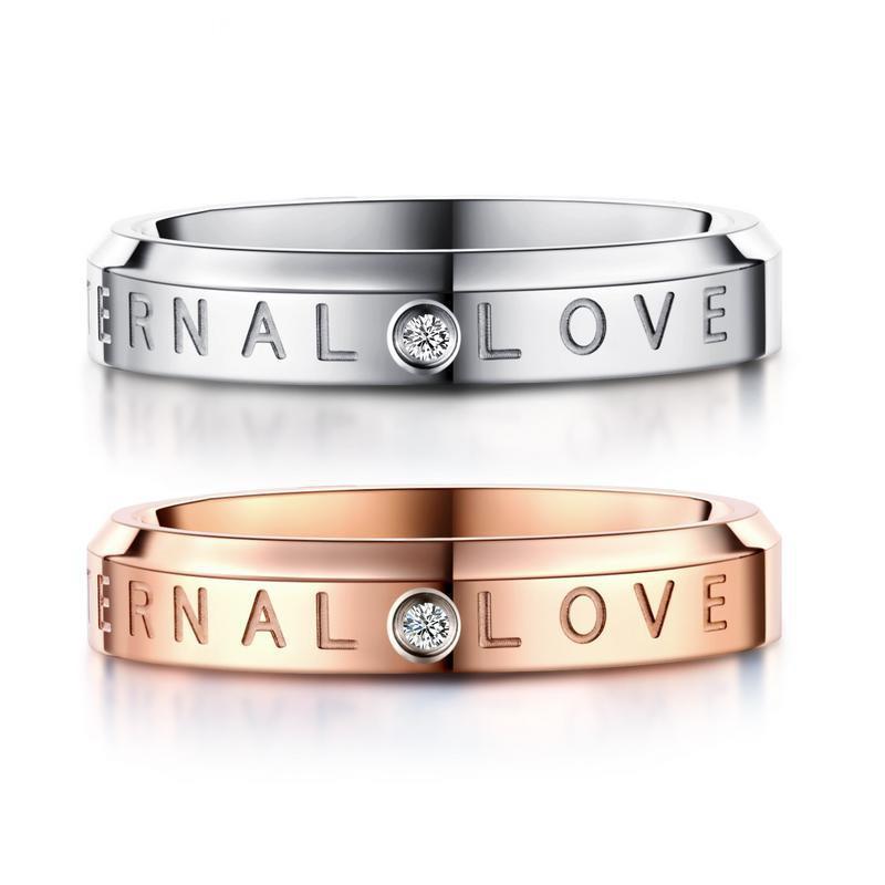 Обручальное кольцо 4 мм Женщины Титан Цирконий Вечность обручальное кольцо ВЕЧНАЯ ЛЮБОВЬ