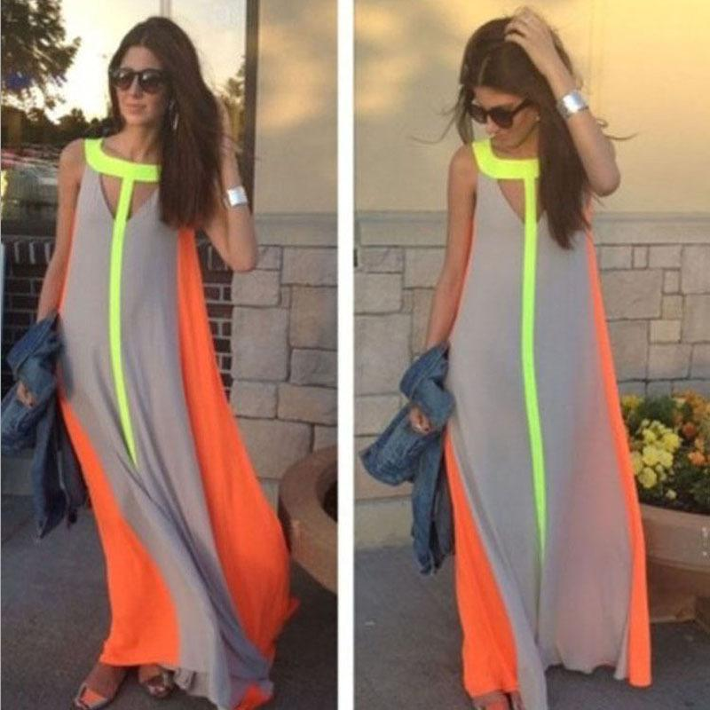 Fahion Chiffon Bright Color Patchwork Casual Dresses Sleeveless Sundress Loose Long Dress Cheap Women Summer Boho Maxi Dresses