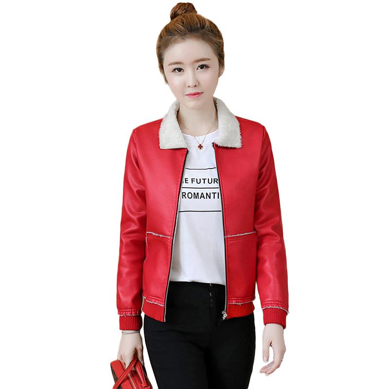 Autumn Winter 2018 New Fashion Leather PU Jacket Coat fashion Black green brown Double Breasted short Jacket outerwear NW1081