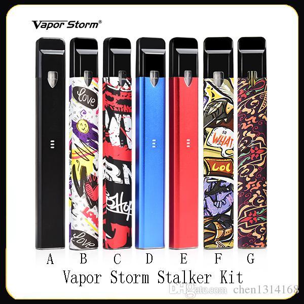 Аутентичные Vapor Сторм Stalker Kit E Сигареты Vape Pen Наборы 400mAh Аккумулятор 1,8 мл Refillable Vape Картриджи 7 цветов