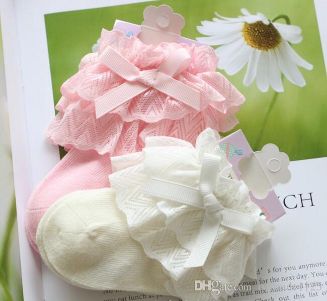 3 colors baby girl Lace Bow socks 100% cotton Elegant children's comfortable Princess socks size 0-8T