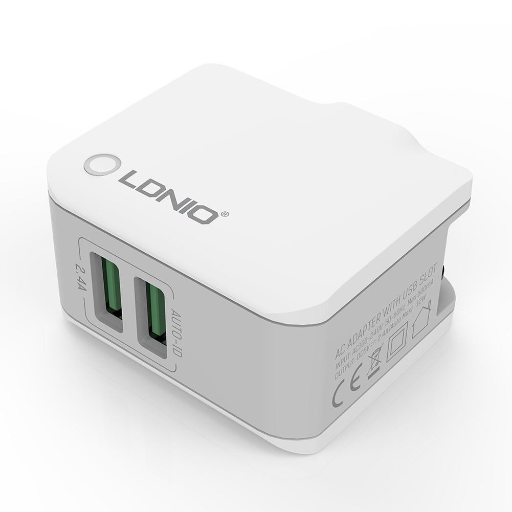 LDNIO A2203 double USB rapide Voyage chargeur mural universel direct Smartphone Charge adaptateur de charge 2.4A 12W Micro Type C Câble de charge