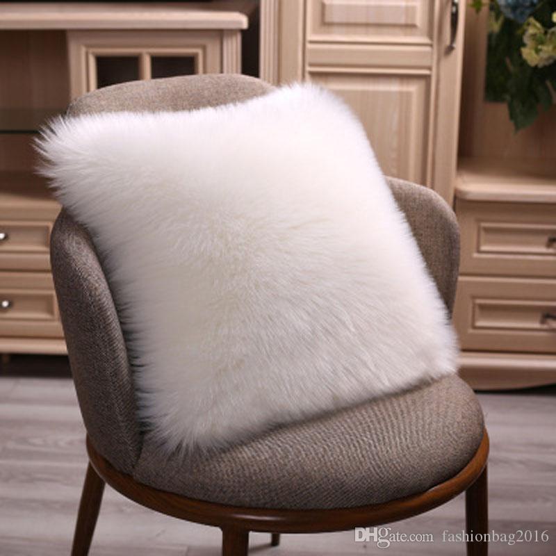 11 couleurs européenne canapé imitation laine taie d'oreiller douce housse de coussin en peluche Qualité taie d'oreiller en peluche, taille 45 cm * 45 cm