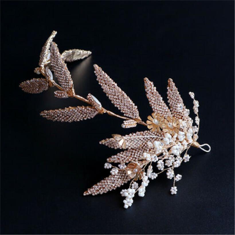 Ornamento de la joyería de moda nupcial de la boda de la vendimia de la hoja venda cristalina del Rhinestone Hairband Headpaiece tiara de la corona de la flor del tocado de la cabeza Prom