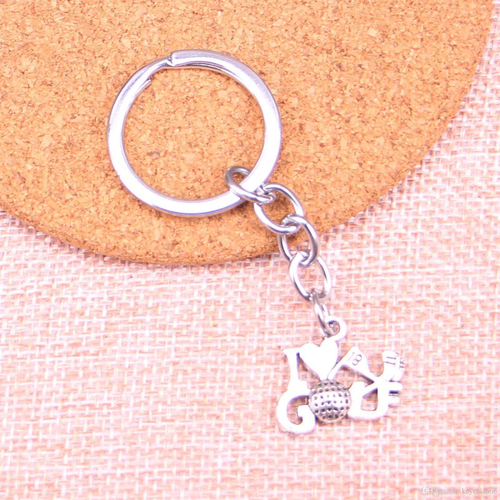 New Fashion 17 * 22 milímetros de golfe Eu amo o keychain, presente de Moda de Nova Handmade Metal Keychain do partido
