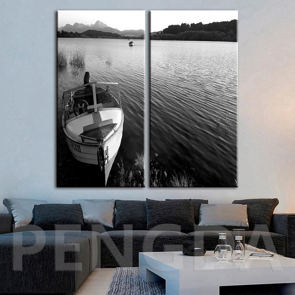 Home Decoration Hd Print Modern Painting Black White Picture Ship Seascape Wall Art Modular Canvas Poster For Bedside Background