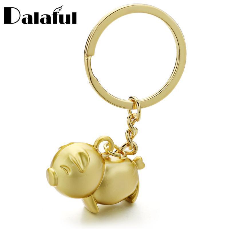 Dalaful خنزير لطيف الحلي المعدنية العصرية الذهب لون حلقة مفتاح سلسلة أنيمي قلادة أقراط هدايا للرجال النساء K385 السيارات