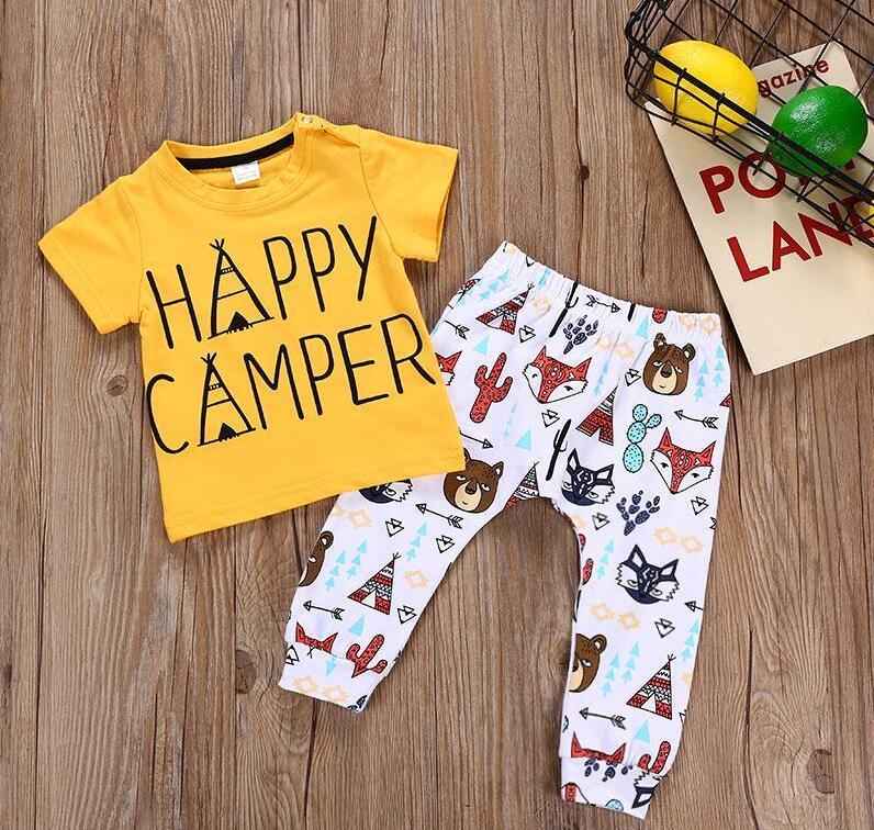 Vestuário recém-nascido de verão conjuntos meninos meninos meninas letras impressas camisetas + fox print calças 2pcs roupas infantil moda roupas roupas