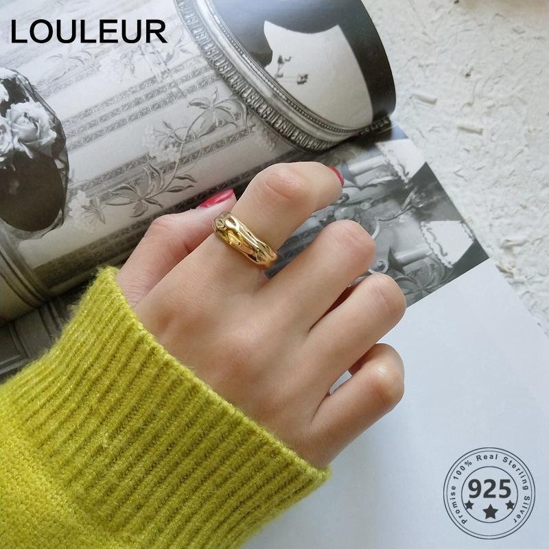 Onda de água 925 prata esterlina ouro anéis coloridos designer trabalha anéis de personalidade elemento de design simples para as mulheres Fashio jóias LY191226