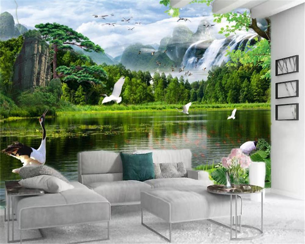 3d Fond d'écran mural beau lac Asuka Fantaisie Cascade Paysage Salon fond TV Salle Chambre Mur Fond d'écran