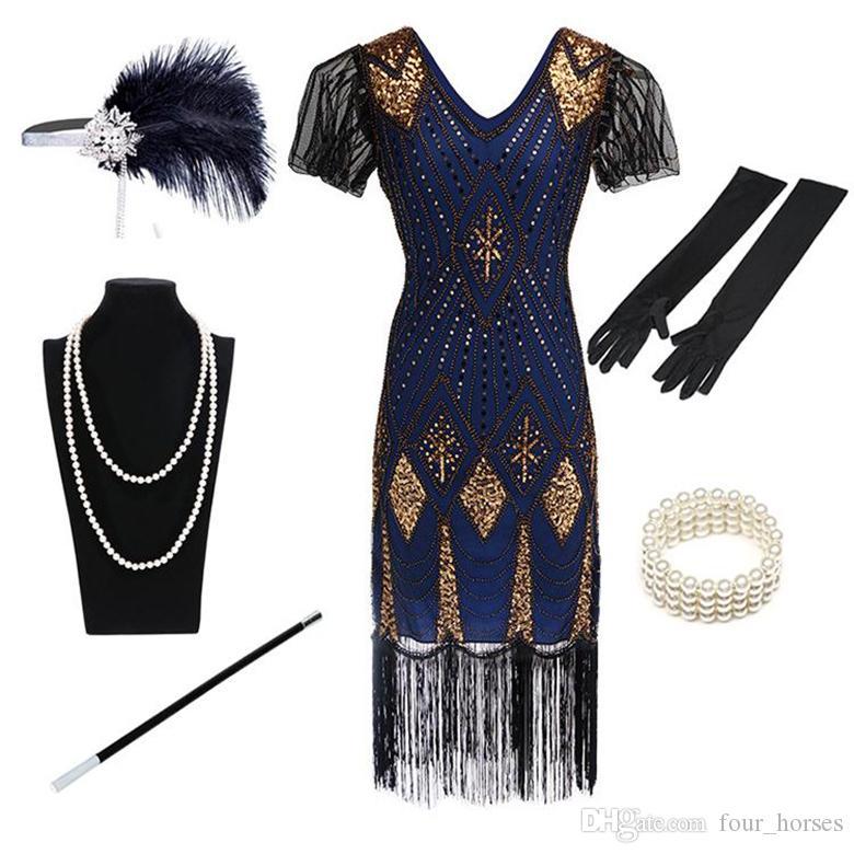 2019 Sequined Partei-Stadiums-Kostüm-Kleid-Qualitäts-reizvolle V-Ausschnitt-Partei Kleid Fringe Glitzer-Kleid Abendkleider 6-Stück-Set