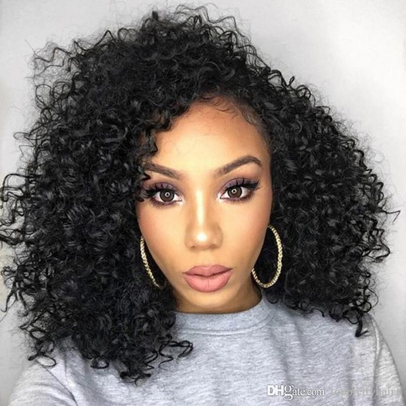 Ucuz Kısa Kıvırcık Peruk Bob Kesim Tam Dantel Ön Peruk Ön Koparıp Tutkalsız Kısa İnsan Saç Peruk Siyah Kadınlar Için