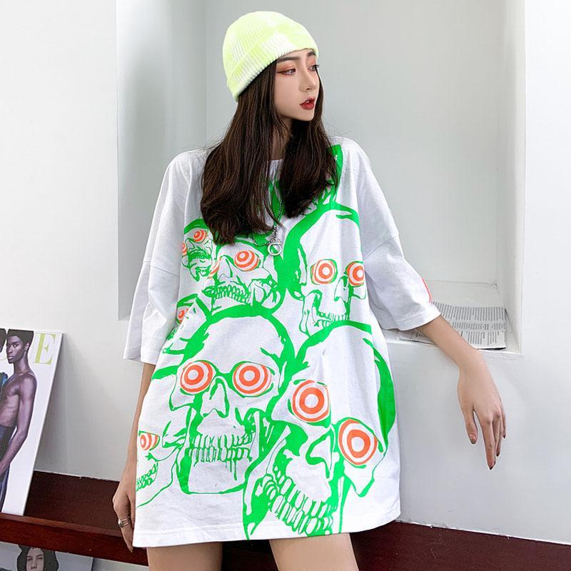 Origional Popüler Marka Hiphop Kafatası Baskılı Short Sleeve Erkekler Ve Kadınlar BF Hip Hop Harajuku Stil Guochao Gevşek Yarım Kol