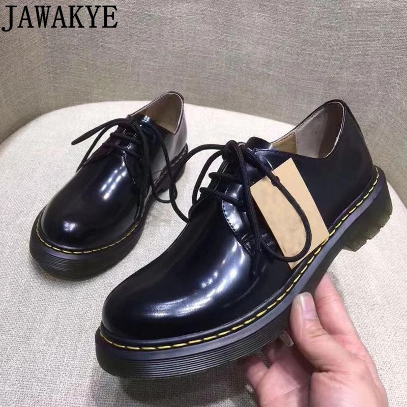 أحذية سميكة البريطاني الوحيد المرأة أوكسفورد شقة امرأة براءات الاختراع والجلود ربط الحذاء حتى عارضة أحذية منصة المدرج البيضاء امرأة سوداء