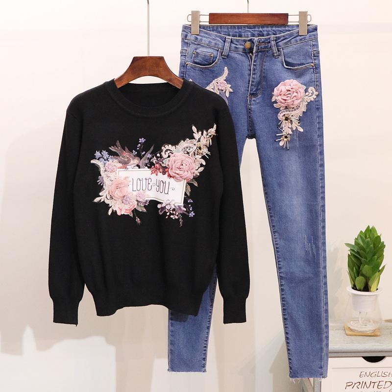 봄 가을 패션 여성 구슬 꽃을 설정 긴 소매 니트 스웨터 청바지 바지 여성 자수 데님 바지 정장 정장