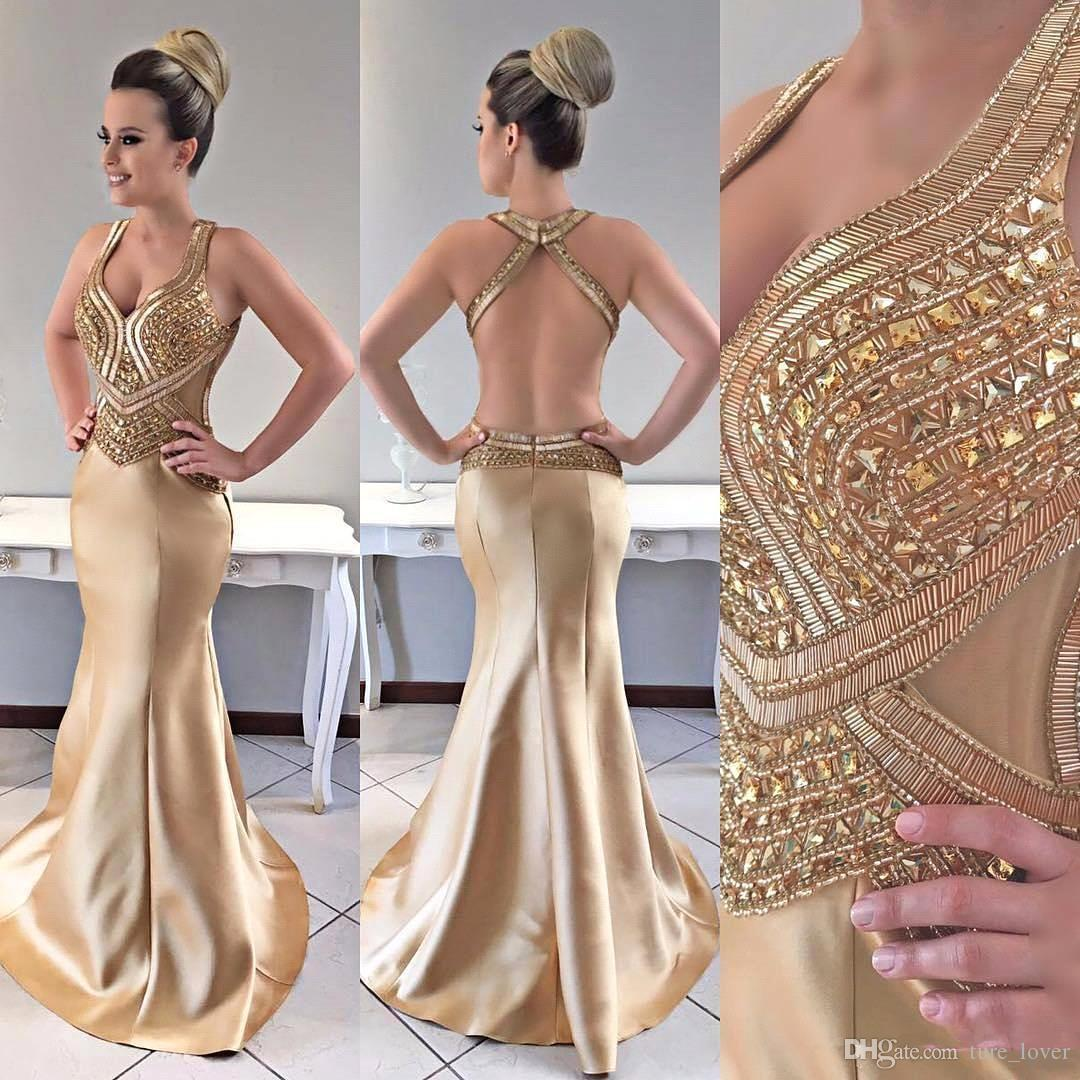 Sexy Mermaid Prom Dresses Straps Satin Sweep Train Major Beaded Gold Evening Dresses with Open Back Vestido Festa Plus Size Party Gowns