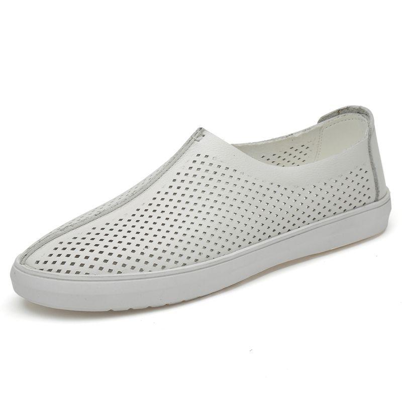 Neue Leder Herren Schuhe Italienisch beiläufige Mens-Loafers Mokassins breathable Beleg auf Schwarz Driving Schuhe plus Größe 37-46 Weiß *