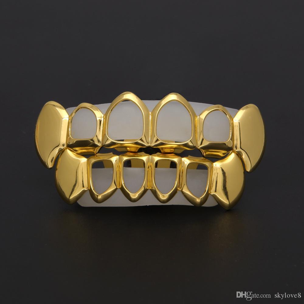 Les nouvelles accolades creux unisexe de mode sont faits de cire comestible de cuivre de haute qualité et plaqué or pour créer la tendance des fans de hip-hop.