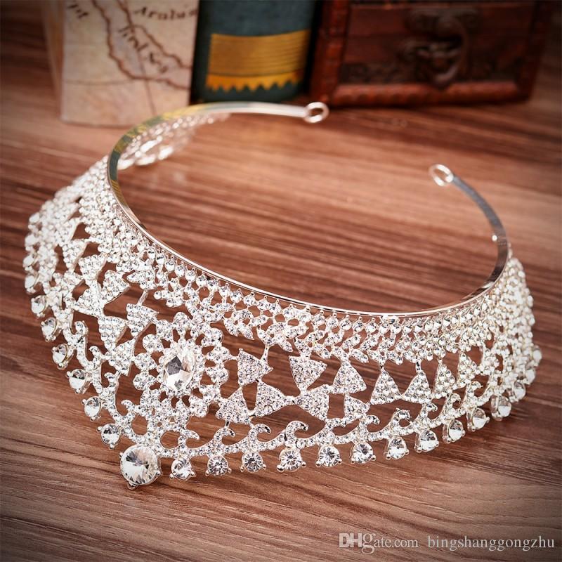 Vintage Geometric Crystal Bridal Tiaras Wedding Crowns Bridal Headband Hair Accessory Wedding Jewelry Silver Gold Red Green Royal Blue